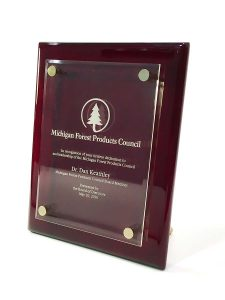 award-recognition-plaque-glass-on-wood-stand-mi-forest-council-2546-cc